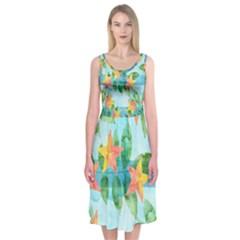 Tropical Starfruit Pattern Midi Sleeveless Dress by DanaeStudio