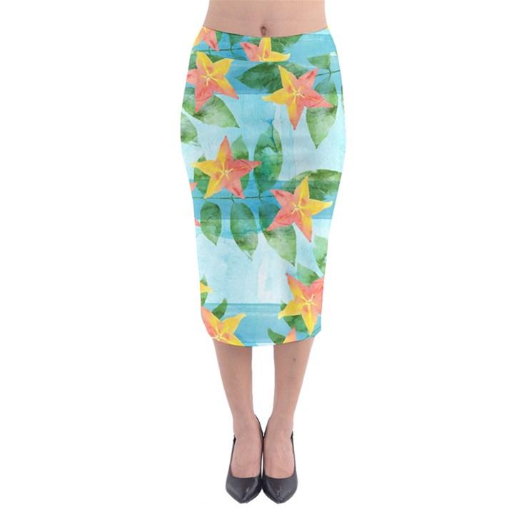 Tropical Starfruit Pattern Midi Pencil Skirt