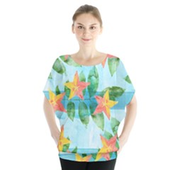 Tropical Starfruit Pattern Blouse by DanaeStudio