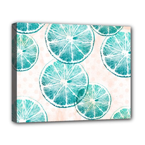 Turquoise Citrus And Dots Deluxe Canvas 20  X 16   by DanaeStudio
