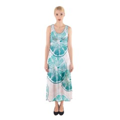 Turquoise Citrus And Dots Sleeveless Maxi Dress by DanaeStudio