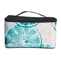 Turquoise Citrus And Dots Cosmetic Storage Case by DanaeStudio