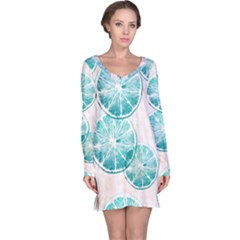Turquoise Citrus And Dots Long Sleeve Nightdress