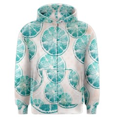 Turquoise Citrus And Dots Men s Zipper Hoodie