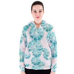 Turquoise Citrus And Dots Women s Zipper Hoodie