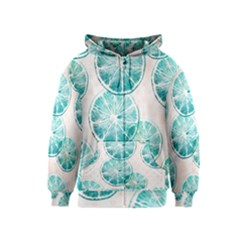 Turquoise Citrus And Dots Kids  Zipper Hoodie
