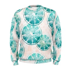 Turquoise Citrus And Dots Men s Sweatshirt