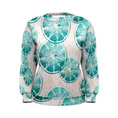 Turquoise Citrus And Dots Women s Sweatshirt