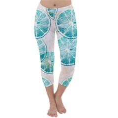 Turquoise Citrus And Dots Capri Winter Leggings