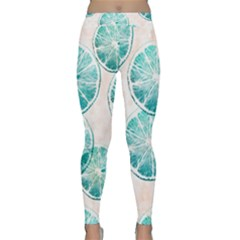 Turquoise Citrus And Dots Classic Yoga Leggings