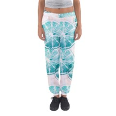 Turquoise Citrus And Dots Women s Jogger Sweatpants
