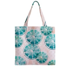 Turquoise Citrus And Dots Zipper Grocery Tote Bag by DanaeStudio