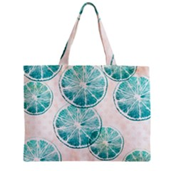 Turquoise Citrus And Dots Zipper Mini Tote Bag