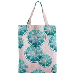 Turquoise Citrus And Dots Zipper Classic Tote Bag