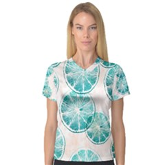 Turquoise Citrus And Dots Women s V Neck Sport Mesh Tee