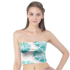 Turquoise Citrus And Dots Tube Top
