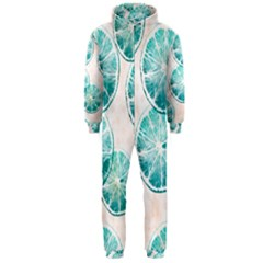 Turquoise Citrus And Dots Hooded Jumpsuit (men)