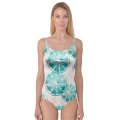 Turquoise Citrus And Dots Camisole Leotard