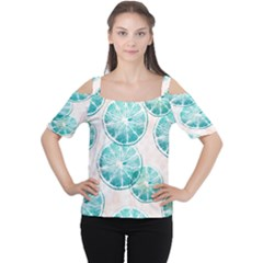 Turquoise Citrus And Dots Women s Cutout Shoulder Tee