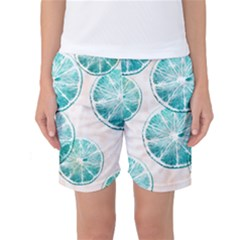 Turquoise Citrus And Dots Women s Basketball Shorts
