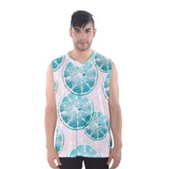 Turquoise Citrus And Dots Men s Basketball Tank Top