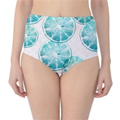 Turquoise Citrus And Dots High Waist Bikini Bottoms