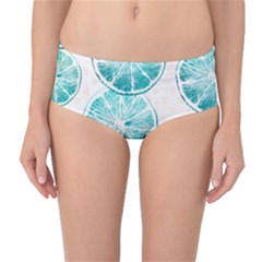Turquoise Citrus And Dots Mid Waist Bikini Bottoms