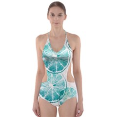 Turquoise Citrus And Dots Cut Out One Piece Swimsuit