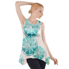 Turquoise Citrus And Dots Side Drop Tank Tunic