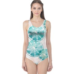 Turquoise Citrus And Dots One Piece Swimsuit