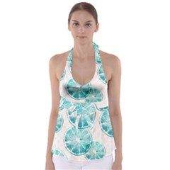 Turquoise Citrus And Dots Babydoll Tankini Top