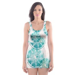 Turquoise Citrus And Dots Skater Dress Swimsuit by DanaeStudio