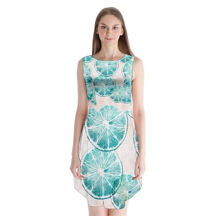 Turquoise Citrus And Dots Sleeveless Chiffon Dress