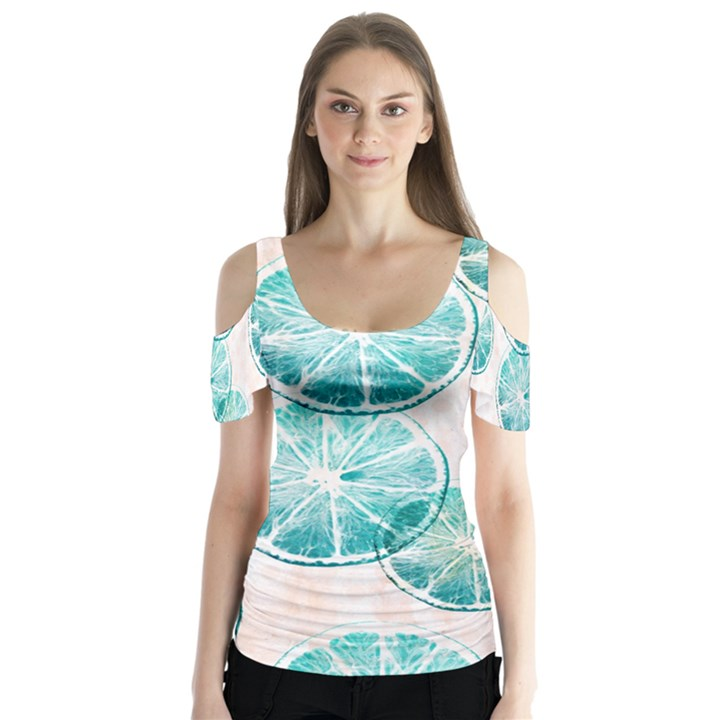Turquoise Citrus And Dots Butterfly Sleeve Cutout Tee