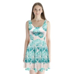 Turquoise Citrus And Dots Split Back Mini Dress  by DanaeStudio