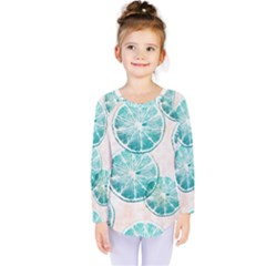 Turquoise Citrus And Dots Kids  Long Sleeve Tee by DanaeStudio