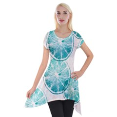 Turquoise Citrus And Dots Short Sleeve Side Drop Tunic