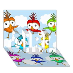 Cute Colorful Birds  Girl 3d Greeting Card (7x5)