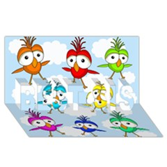 Cute Colorful Birds  Best Sis 3d Greeting Card (8x4) by Valentinaart