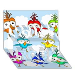 Cute Colorful Birds  You Rock 3d Greeting Card (7x5) by Valentinaart