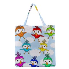 Cute Colorful Birds  Grocery Tote Bag by Valentinaart