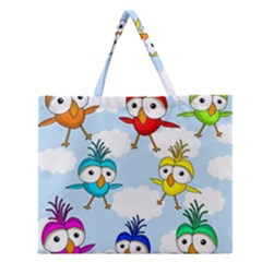 Cute Colorful Birds  Zipper Large Tote Bag by Valentinaart