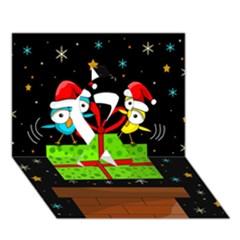 Cute Christmas Birds Ribbon 3d Greeting Card (7x5) by Valentinaart