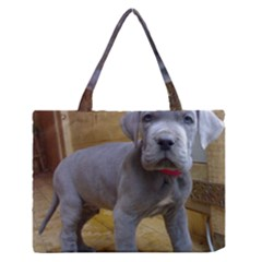 Great Dane Puppy Blue Medium Zipper Tote Bag by TailWags