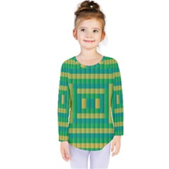 Pattern Grid Squares Texture    Kids  Long Sleeve Tee by Zeze