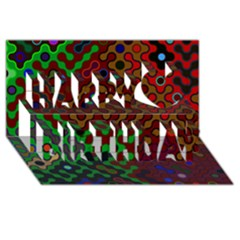 Psychedelic Abstract Swirl Happy Birthday 3D Greeting Card (8x4) by Zeze
