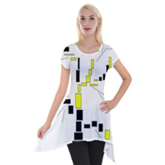 Tree Made From Rectangles Vector Short Sleeve Side Drop Tunic by Zeze