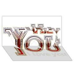 Hey You I Love You Twin Hearts 3d Greeting Card (8x4) by Onesevenart