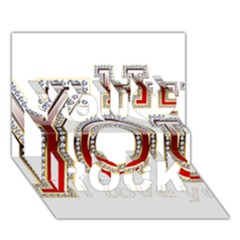 Hey You I Love You You Rock 3d Greeting Card (7x5) by Onesevenart