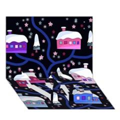 Magical Xmas Night Love Bottom 3d Greeting Card (7x5) by Valentinaart